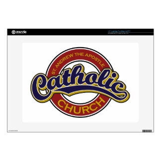 """St. Andrew the Apostle Catholic Church Blue on Red Skin For 15"""" Laptop"""