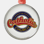 St. Andrew the Apostle Catholic Church Red on Blue Metal Ornament