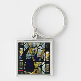 St. Andrew with Saltire Cross, British Silver-Colored Square Keychain