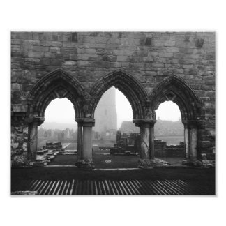St Andrews Cathedral Arches in Fog Black and White Photo Print