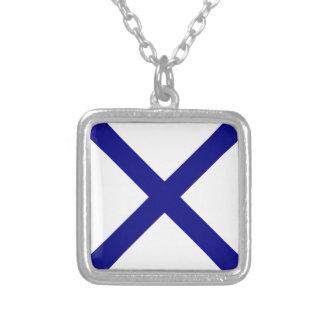 St. Andrew's Cross Square Pendant Necklace