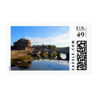 St Angel Castle and Bridge in Rome, Italy Postage