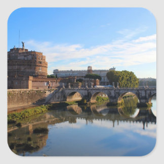 St Angel Castle and Bridge in Rome, Italy Square Sticker