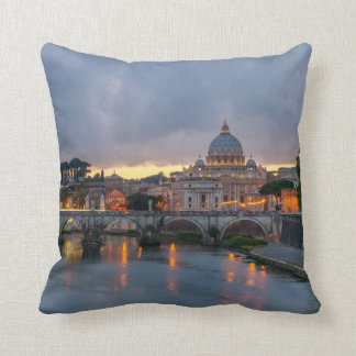 St. Angelo Bridge, St. Peter's Basilica, Rome Throw Pillow