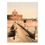 St Angelo Castle and Bridge, Rome, Lazio Italy Postcard