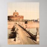 St Angelo Castle and Bridge, Rome, Lazio Italy Poster