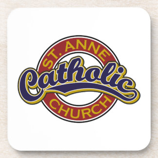 ST. ANNE Blue on Red Drink Coaster