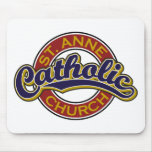ST. ANNE Blue on Red Mouse Pad