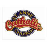 ST. ANNE Catholic Church Red on Blue Postcard