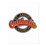 ST. ANNE Catholic Church Red on Blue Postcards