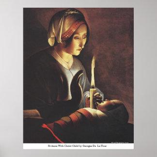 St Anne con el niño de Cristo de Georges de La Tou Impresiones