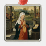 St.Anne Conceiving the Virgin Square Metal Christmas Ornament