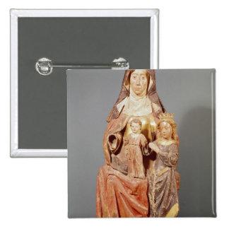 St Anne, la Virgen y niño, Pin Cuadrada 5 Cm