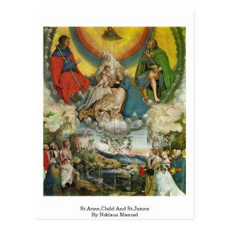 St Anne, niño y San Jaime de Niklaus Manuel Postal