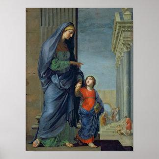 St Anne que lleva a la Virgen al templo Póster