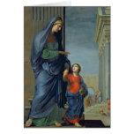 St Anne que lleva a la Virgen al templo Tarjeta De Felicitación