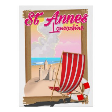 Beach Themed St Annes, Lancashire beach travel poster