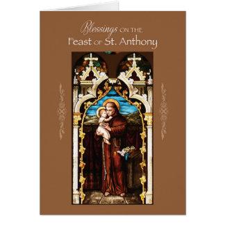 St Anthony de las bendiciones del día de banquete Tarjeta De Felicitación