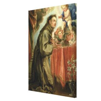 St Anthony de Padua que adora al niño de Cristo Impresión En Lona Estirada