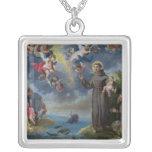 St Anthony de Padua que predica a los pescados Colgante Cuadrado