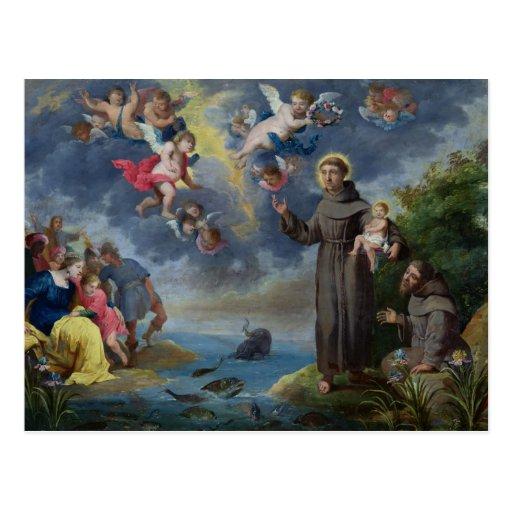 St Anthony de Padua que predica a los pescados Postal