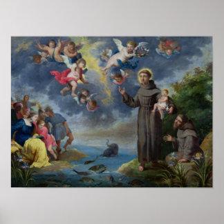 St Anthony de Padua que predica a los pescados Póster