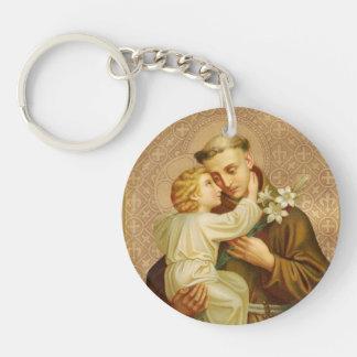 ST. ANTHONY HOLDING CHILD JESUS LILY KEYCHAIN