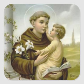 St. Anthony of Padua Baby Jesus Square Sticker