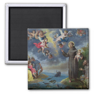 St. Anthony of Padua Preaching to the Fish 2 Inch Square Magnet