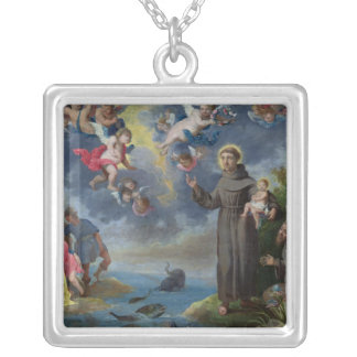St. Anthony of Padua Preaching to the Fish Silver Plated Necklace