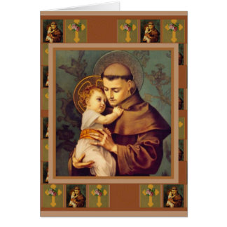 St. Anthony of Padua with Baby Jesus Cross Roses Card