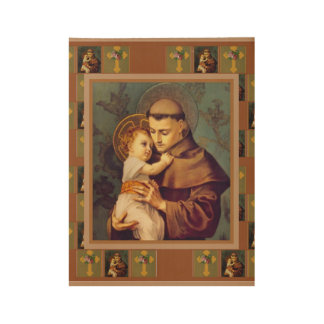 St. Anthony of Padua with Baby Jesus Wood Poster