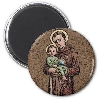 St Anthony y bebé Jesús Imán Redondo 5 Cm