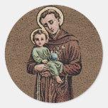 St Anthony y bebé Jesús Pegatina Redonda