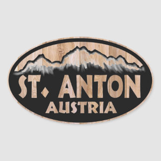 St. Anton Austria wooden sign oval stickers