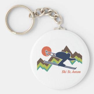 St. Antón del esquí Llavero Redondo Tipo Pin