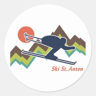 St. Antón del esquí Pegatina Redonda