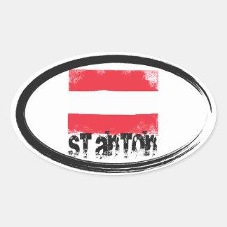 St Anton Grunge Flag Oval Sticker