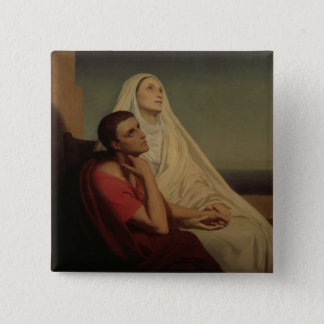 St. Augustine and his mother St. Monica, 1855 Button