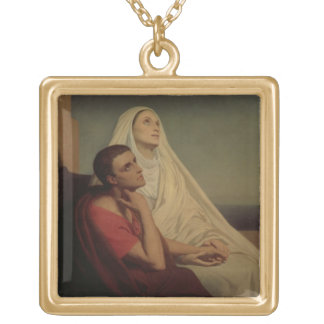 St. Augustine and his mother St. Monica, 1855 Gold Plated Necklace