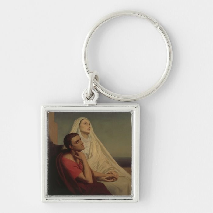 St. Augustine and his mother St. Monica, 1855 Keychain