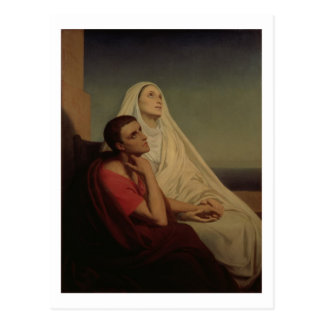 St. Augustine and his mother St. Monica, 1855 Postcard