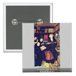 St. Augustine And The Hermit By Ferrari Gaudenzio 2 Inch Square Button