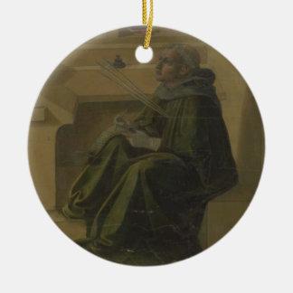 St Augustine en su estudio (predela del Barbad Adorno Navideño Redondo De Cerámica