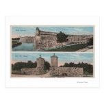 St Augustine, FL - vista del pie Marion y ciudad Tarjetas Postales