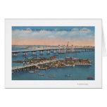 St Augustine, FL - vista del puente de leones Tarjeta