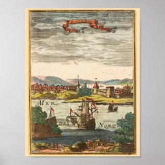 St. Augustine Florida Antique 1686 Engraving Print