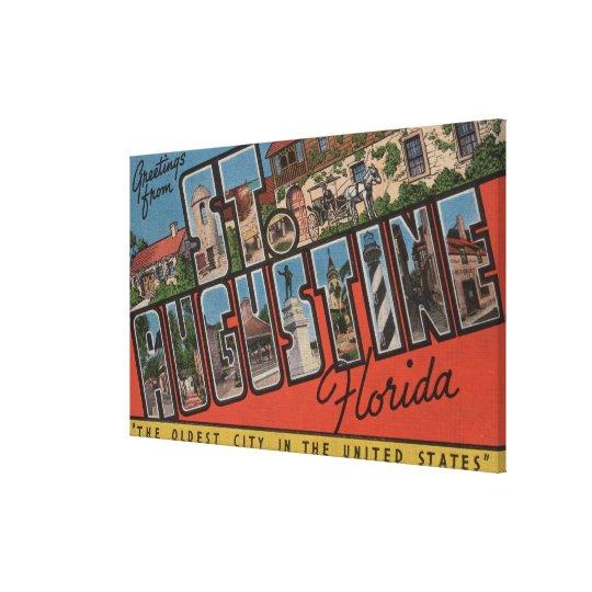 St. Augustine, Florida - Large Letter Scenes 2 Canvas Print