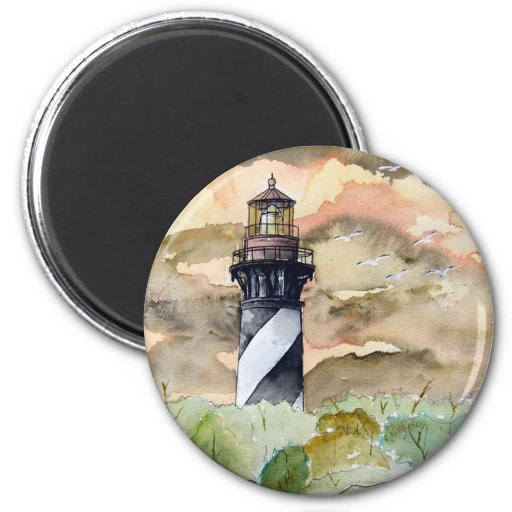 St Augustine Florida lighthouse painting 2 Inch Round Magnet