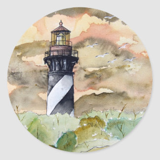 St Augustine Florida lighthouse painting Classic Round Sticker